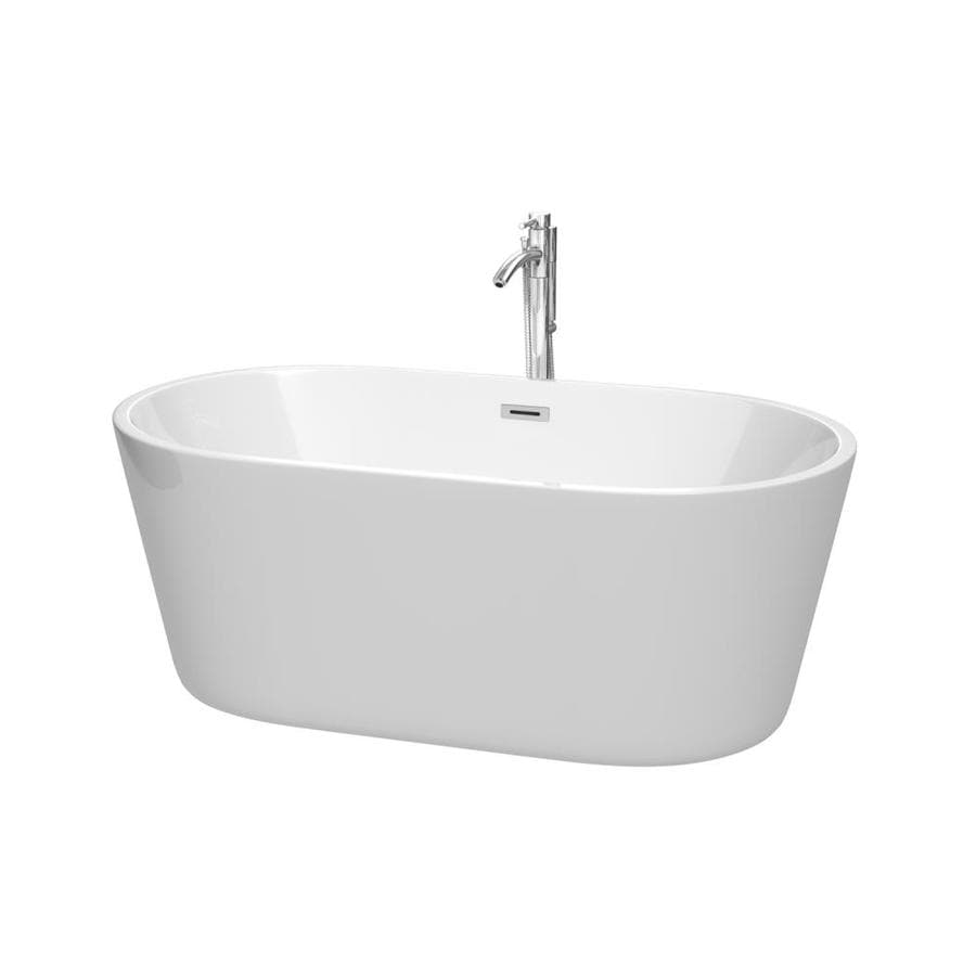 Wyndham Collection Carissa 60-in White with Polished Chrome Trim Acrylic Freestanding Bathtub with Center Drain