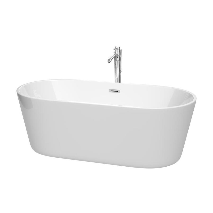 Wyndham Collection Carissa 67-in White with Polished Chrome Acrylic Freestanding Bathtub with Center Drain