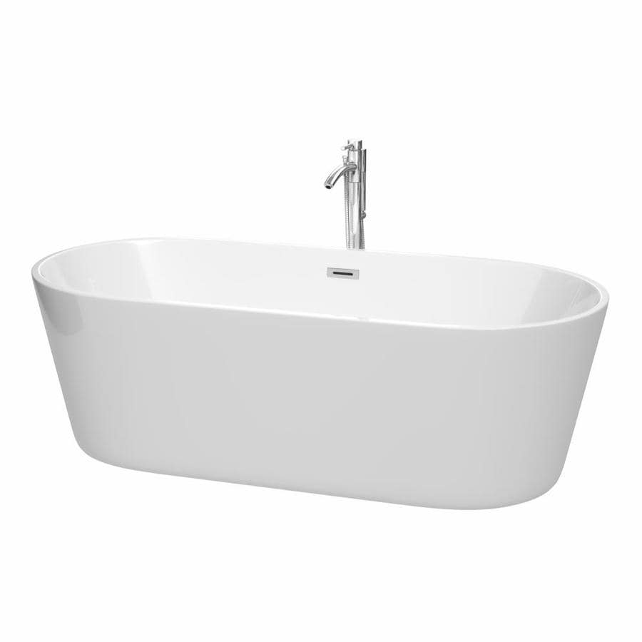 Wyndham Collection Carissa 71-in White Acrylic Freestanding Bathtub with Center Drain