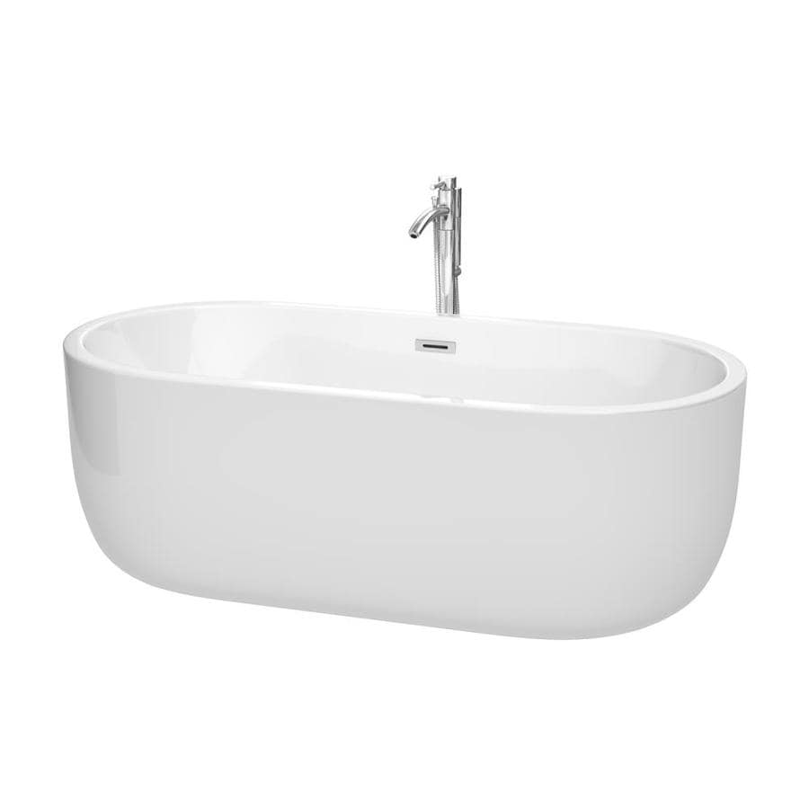 Wyndham Collection Juliette 67-in White with Polished Chrome Acrylic Freestanding Bathtub with Center Drain