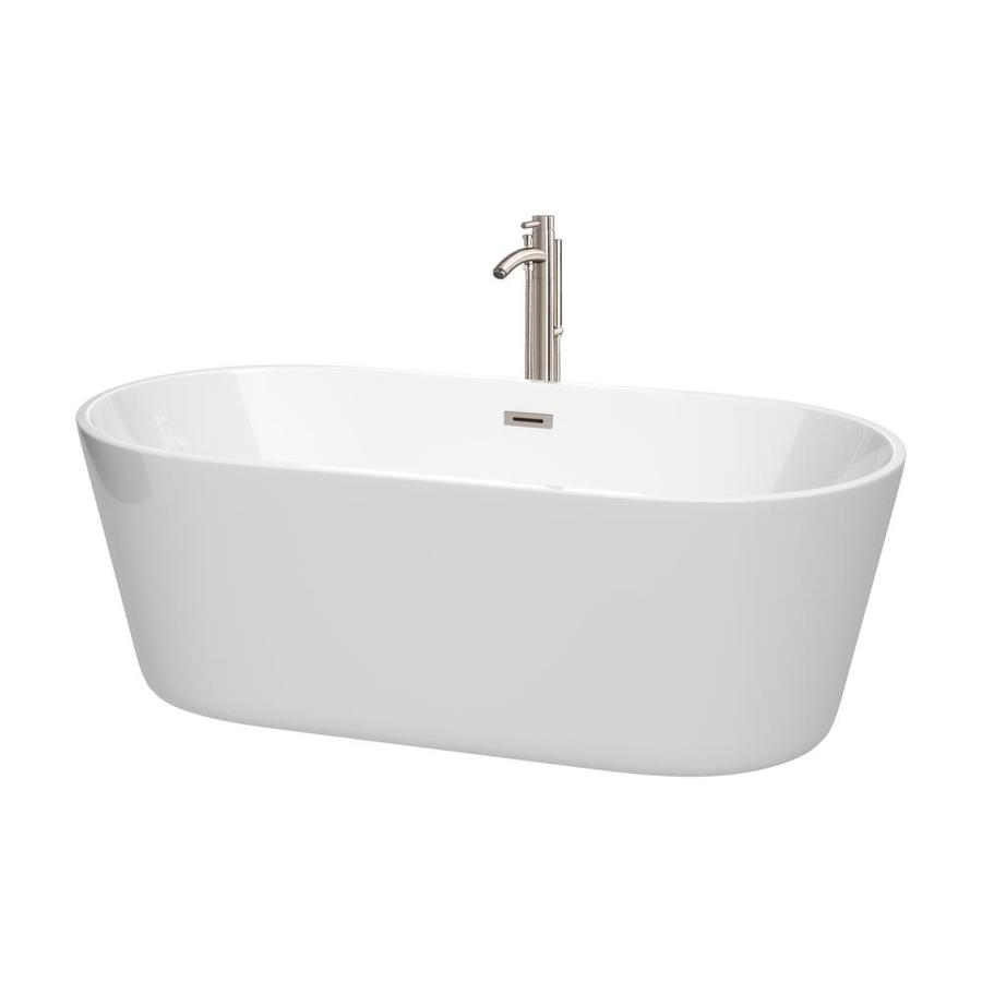 Wyndham Collection Carissa 67-in White with Brushed Nickel Trim Acrylic Freestanding Bathtub with Center Drain
