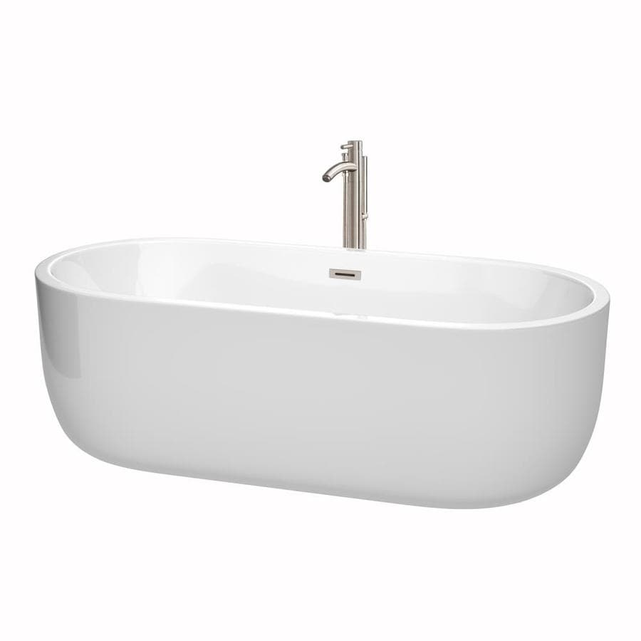 Wyndham Collection Juliette 71-in White with Brushed Nickel Trim Acrylic Freestanding Bathtub with Center Drain