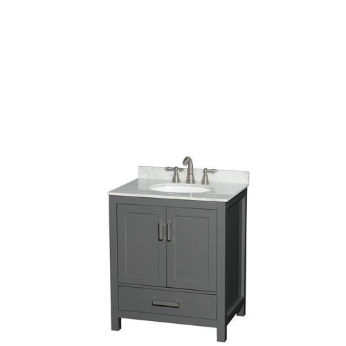 Wyndham Collection Sheffield 30 In Dark Gray Single Sink Bathroom Vanity With White Carrara Marble Natural Marble Top At Lowes Com