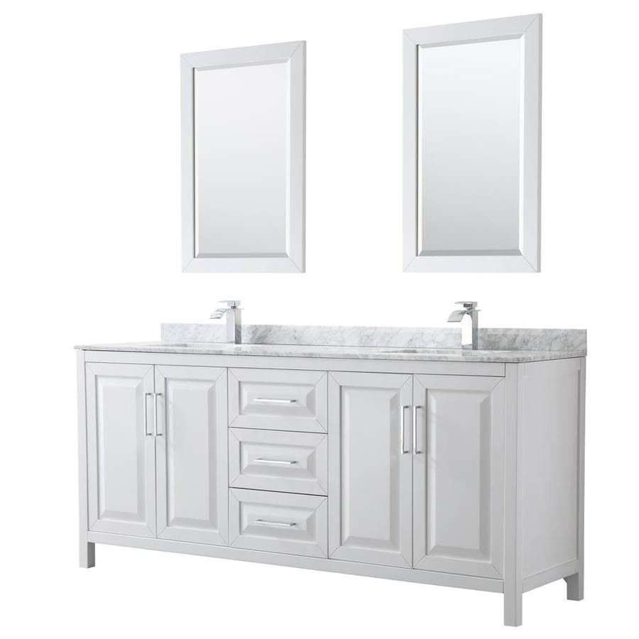 - Wyndham Collection Daria 80-in White Double Sink Bathroom Vanity