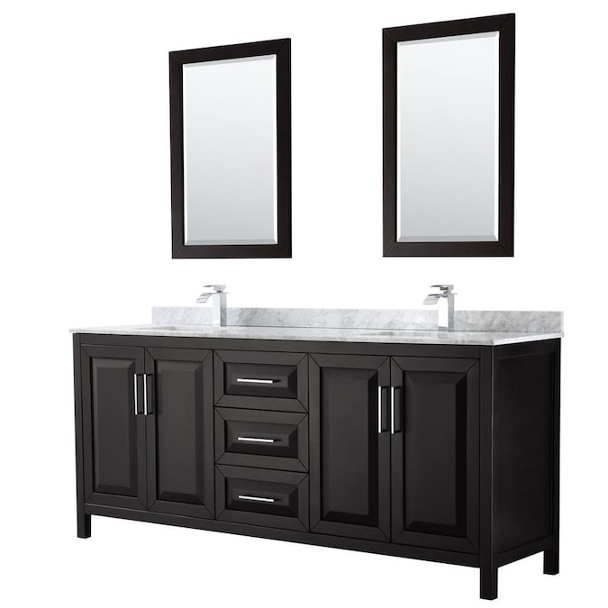 Wyndham Collection Daria 80 In Dark Espresso Undermount Double Sink Bathroom Vanity With White Carrara Marble Natural Marble Top Mirror Included In The Bathroom Vanities With Tops Department At Lowes Com