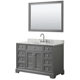 48u0022 Single Bathroom Vanity,Dark Gray, White Marble top, Oval Sink,46u0022 Mirror