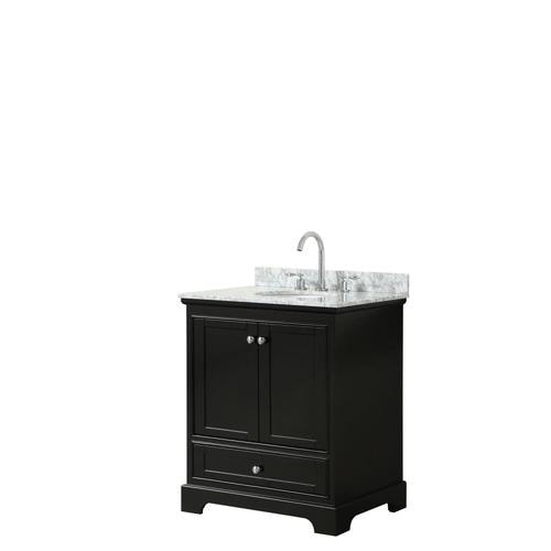 Wyndham Collection Deborah 30 In Dark Espresso Single Sink Bathroom Vanity With White Carrara Marble Natural Marble Top At Lowes Com