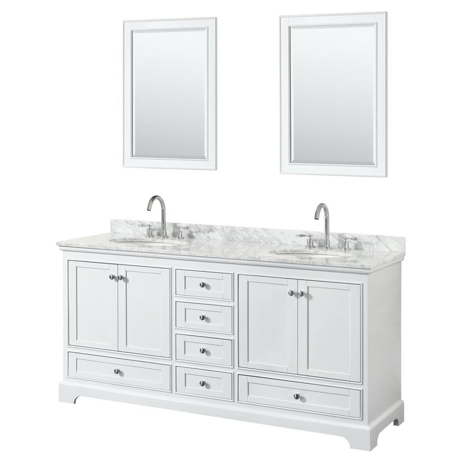 - Wyndham Collection Deborah 72-in White Double Sink Bathroom Vanity