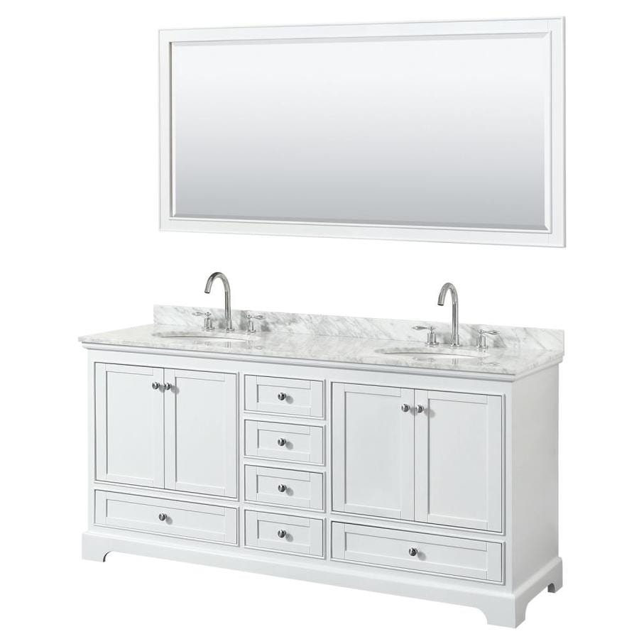 Wyndham Collection Deborah 72 In White Double Sink Bathroom Vanity