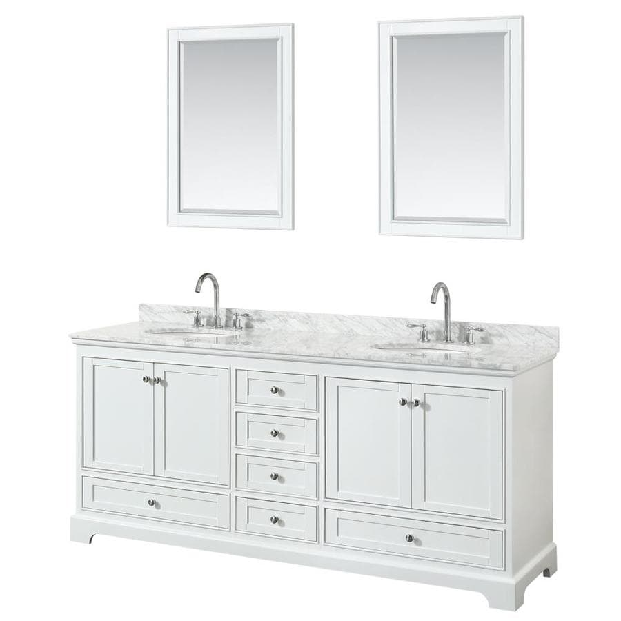 Wyndham Collection Deborah 80 In White Double Sink Bathroom Vanity With White Carrara Marble Natural Marble Top Mirror Included In The Bathroom Vanities With Tops Department At Lowes Com