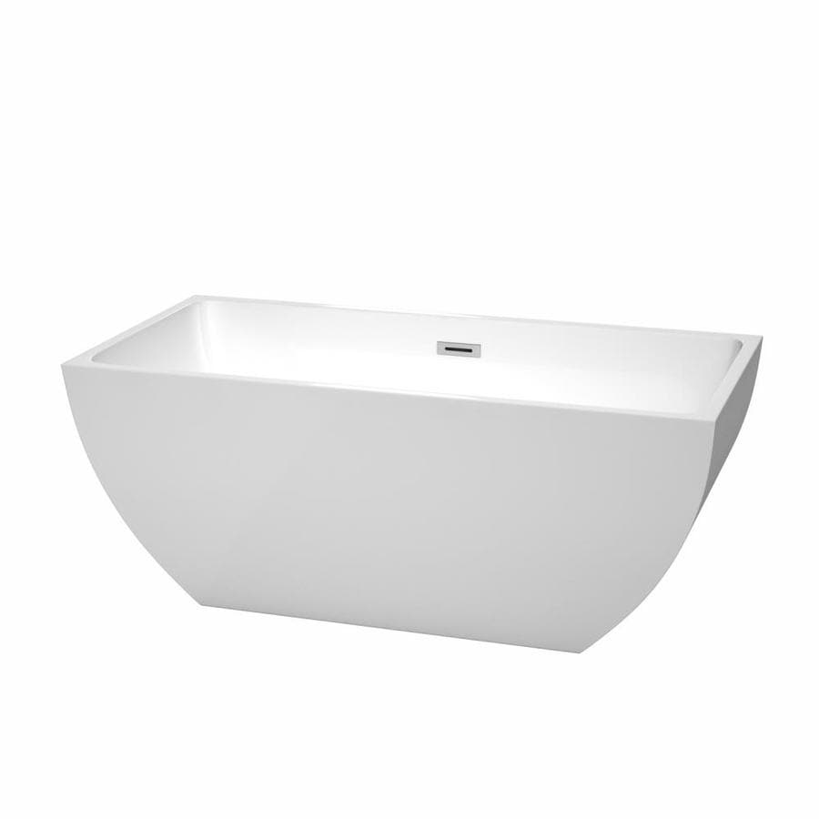 Wyndham Collection Rachel White Acrylic Rectangular Freestanding Bathtub with Center Drain (Common: 30-in x 59-in; Actual: 23.5-in x 29.5-in x 59-in)