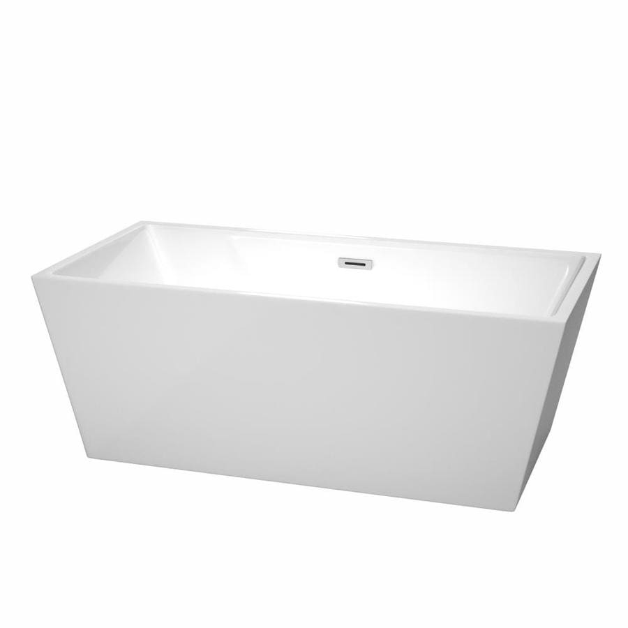 Wyndham Collection Sara 63-in White Acrylic Freestanding Bathtub with Center Drain