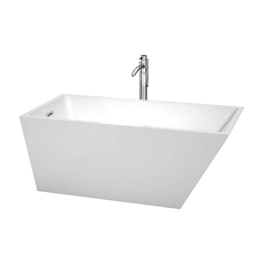 Wyndham Collection Hannah 59-in White Acrylic Freestanding Bathtub with Back Center Drain