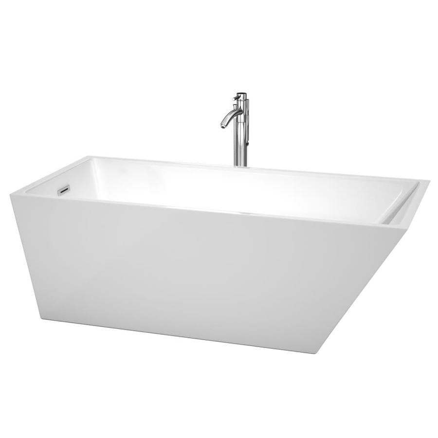 Wyndham Collection Hannah 67-in White Acrylic Freestanding Bathtub with Back Center Drain