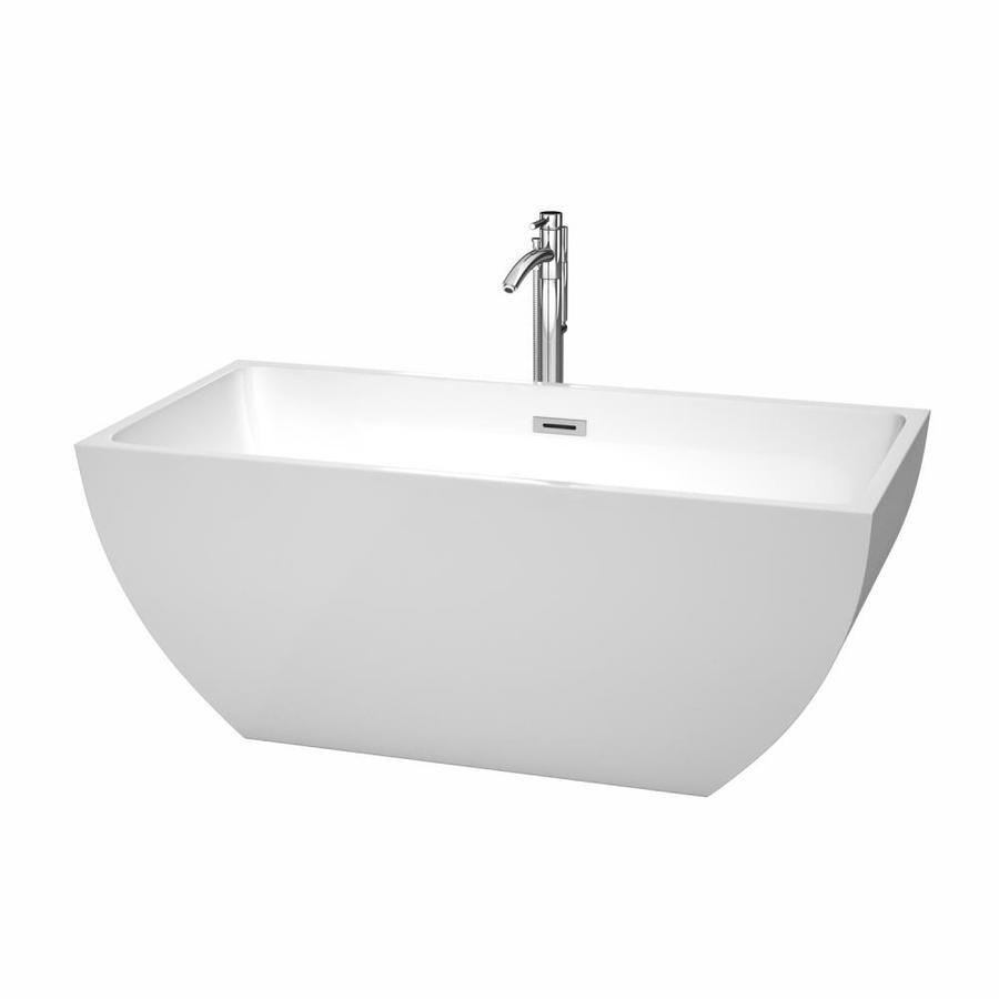 Wyndham Collection Rachel 59-in White Acrylic Freestanding Bathtub with Center Drain