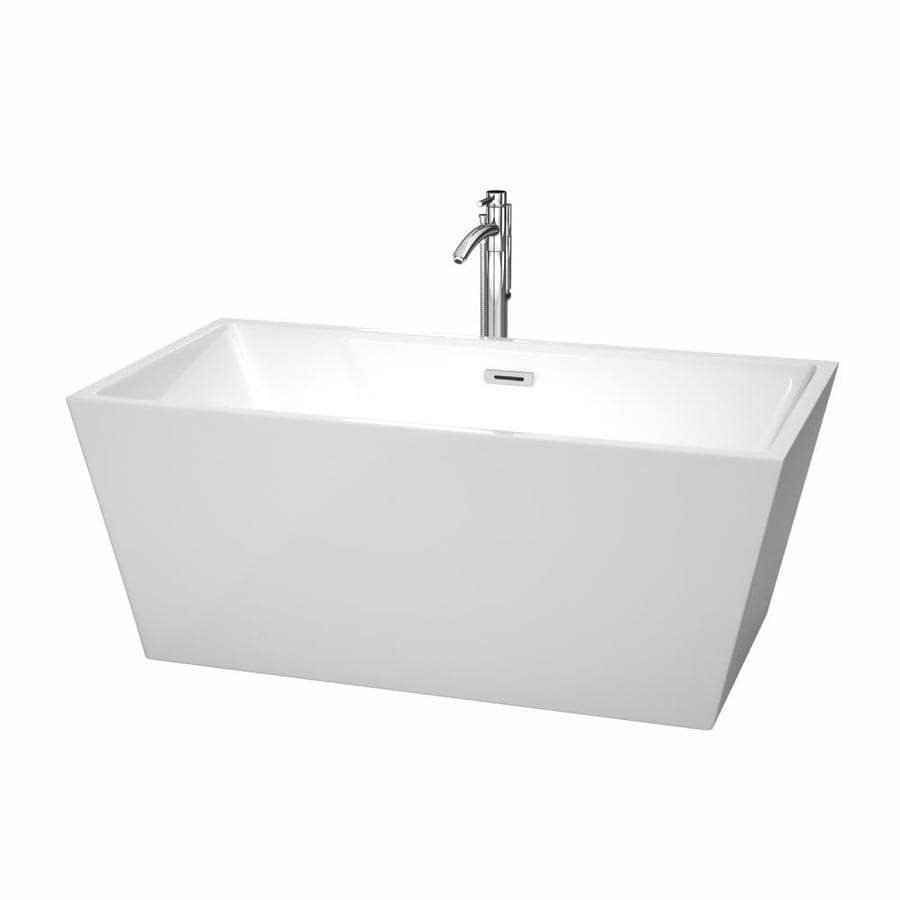 Wyndham Collection Sara 59-in White Acrylic Freestanding Bathtub with Center Drain