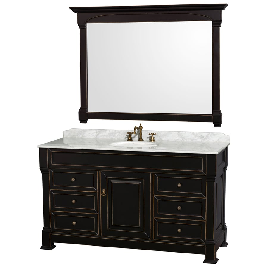 Wyndham Collection Andover Black 60-in Undermount Single Sink Oak Bathroom Vanity with Natural Marble Top (Mirror Included)