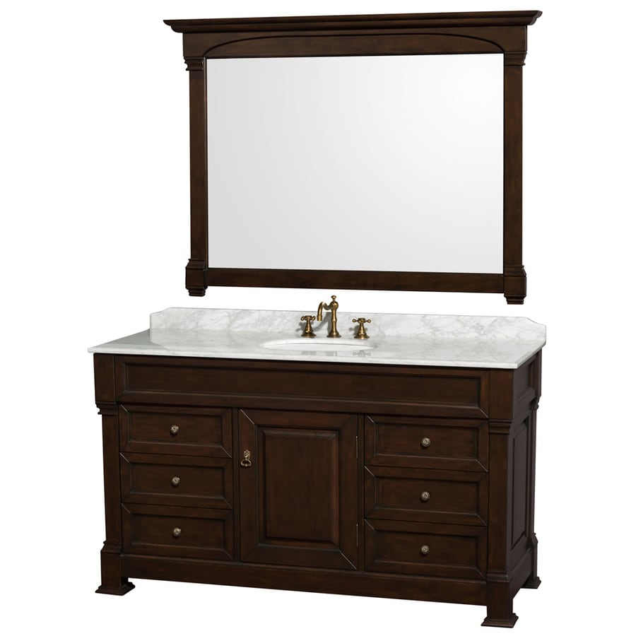 Wyndham Collection Andover Dark Cherry 60-in Undermount Single Sink Oak Bathroom Vanity with Natural Marble Top (Mirror Included)