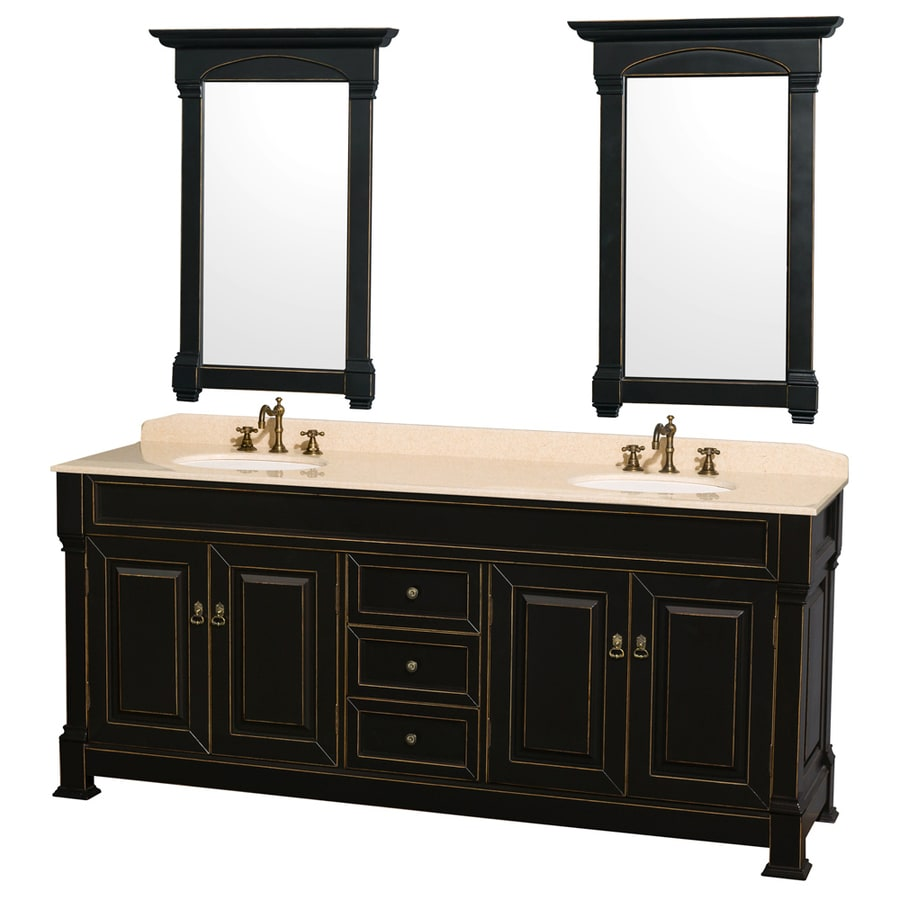 Wyndham Collection Andover Black 80-in Undermount Double Sink Oak Bathroom Vanity with Natural Marble Top (Mirror Included)