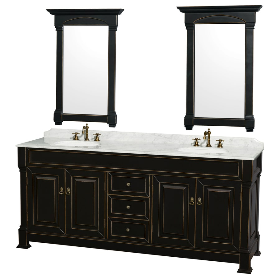 Shop wyndham collection andover black undermount double sink bathroom vanity with natural marble Marble top bathroom vanities