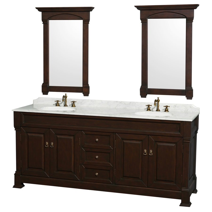 Wyndham Collection Andover Brown/Tan 80-in Undermount Double Sink Oak Bathroom Vanity with Natural Marble Top (Mirror Included)