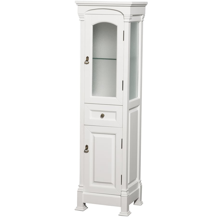 Wyndham Collection Andover 18-in W x 65-in H x 16-in D White Oak Freestanding Linen Cabinet