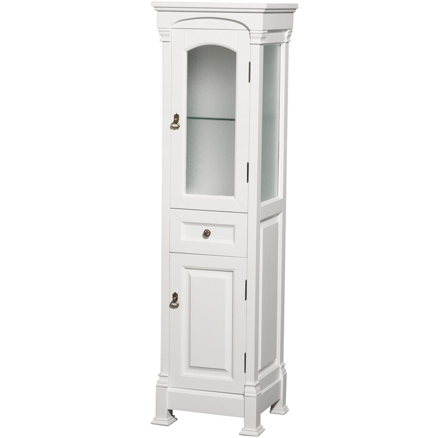 Shop Wyndham Collection Andover 18-in W X 65-in H X 16-in D White Oak Freestanding Linen Cabinet
