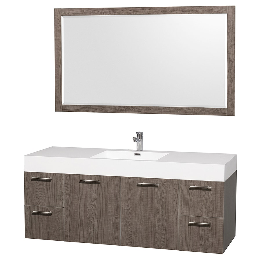 Wyndham Collection Amare Gray Oak Integrated Single Sink Bathroom Vanity with Solid Surface Top (Common: 60-in x 22-in; Actual: 60-in x 21.75-in)