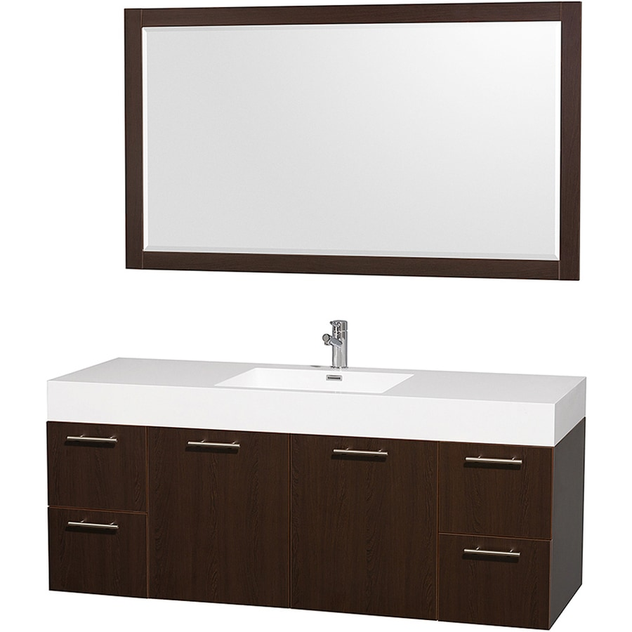 Wyndham Collection Amare Espresso (Common: 60-in x 22-in) Integral Single Sink Bathroom Vanity with Solid Surface Top (Mirror Included) (Actual: 60-in x 21.25-in)
