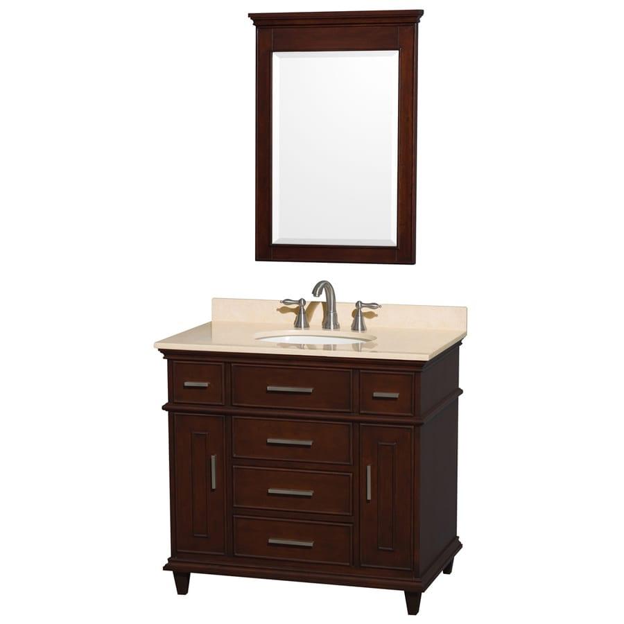 Wyndham Collection Berkeley Dark Chestnut (Common: 36-in x 22.5-in) Undermount Single Sink Birch Bathroom Vanity with Natural Marble Top (Mirror Included) (Actual: 36-in x 22.5-in)