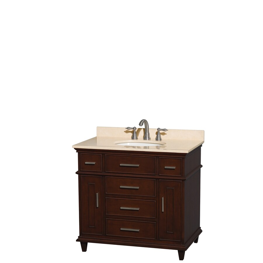 Wyndham Collection Berkeley Dark Chestnut Undermount Single Sink Bathroom Vanity with Natural Marble Top (Common: 36-in x 23-in; Actual: 36-in x 22.5-in)