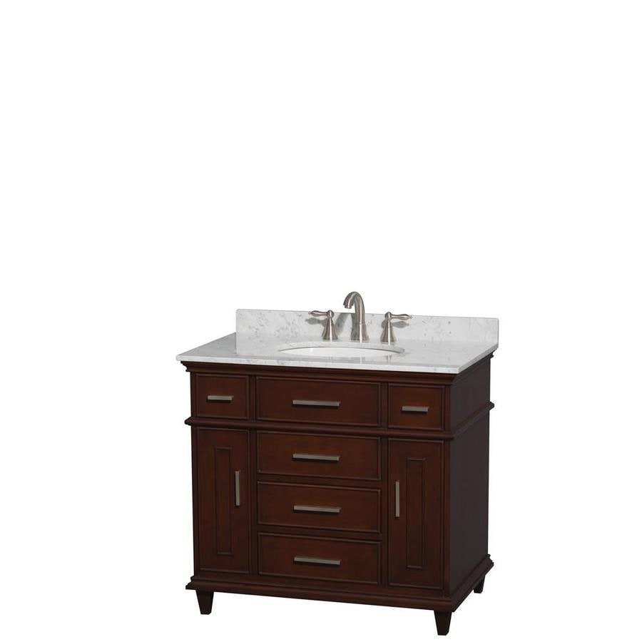 Wyndham Collection Berkeley Dark Chestnut Undermount Single Sink Bathroom Vanity with Natural Marble Top (Common: 36-in x 23-in; Actual: 36-in x 22.5-in)