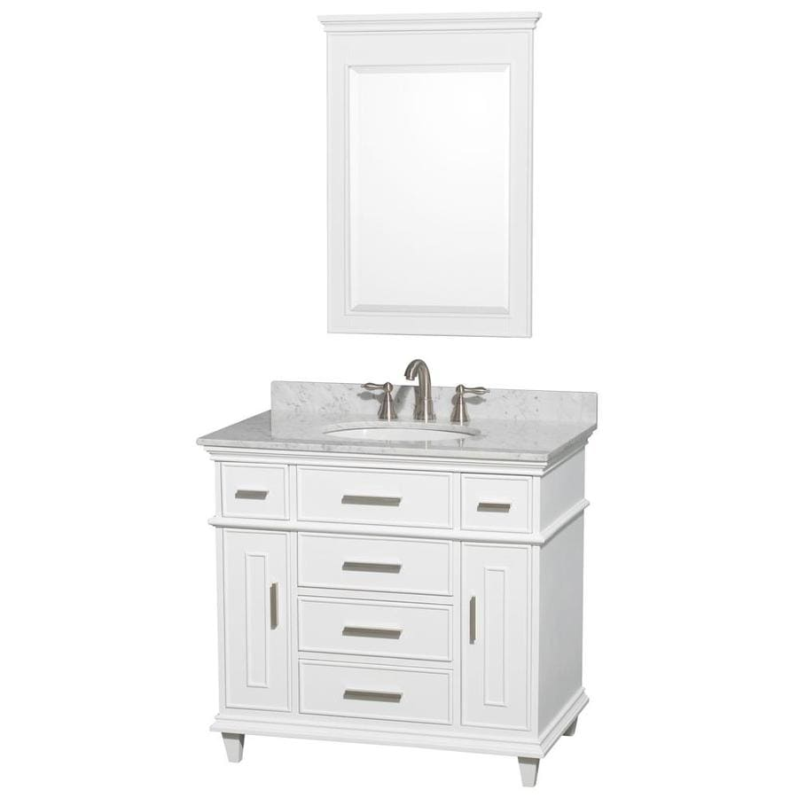 Wyndham Collection Berkeley White Undermount Single Sink Bathroom Vanity with Natural Marble Top (Common: 36-in x 22.5-in; Actual: 36-in x 22.5-in)