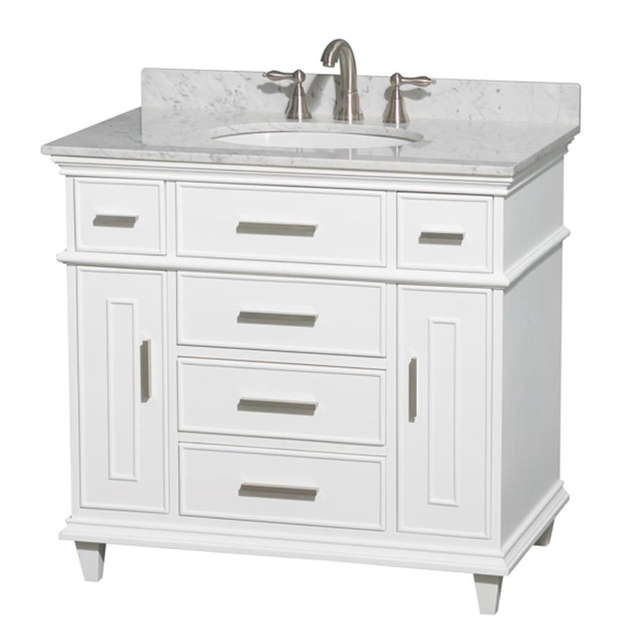 Wyndham Collection Berkeley White Undermount Single Sink Bathroom Vanity with Natural Marble Top (Common: 36-in x 23-in; Actual: 36-in x 22.5-in)