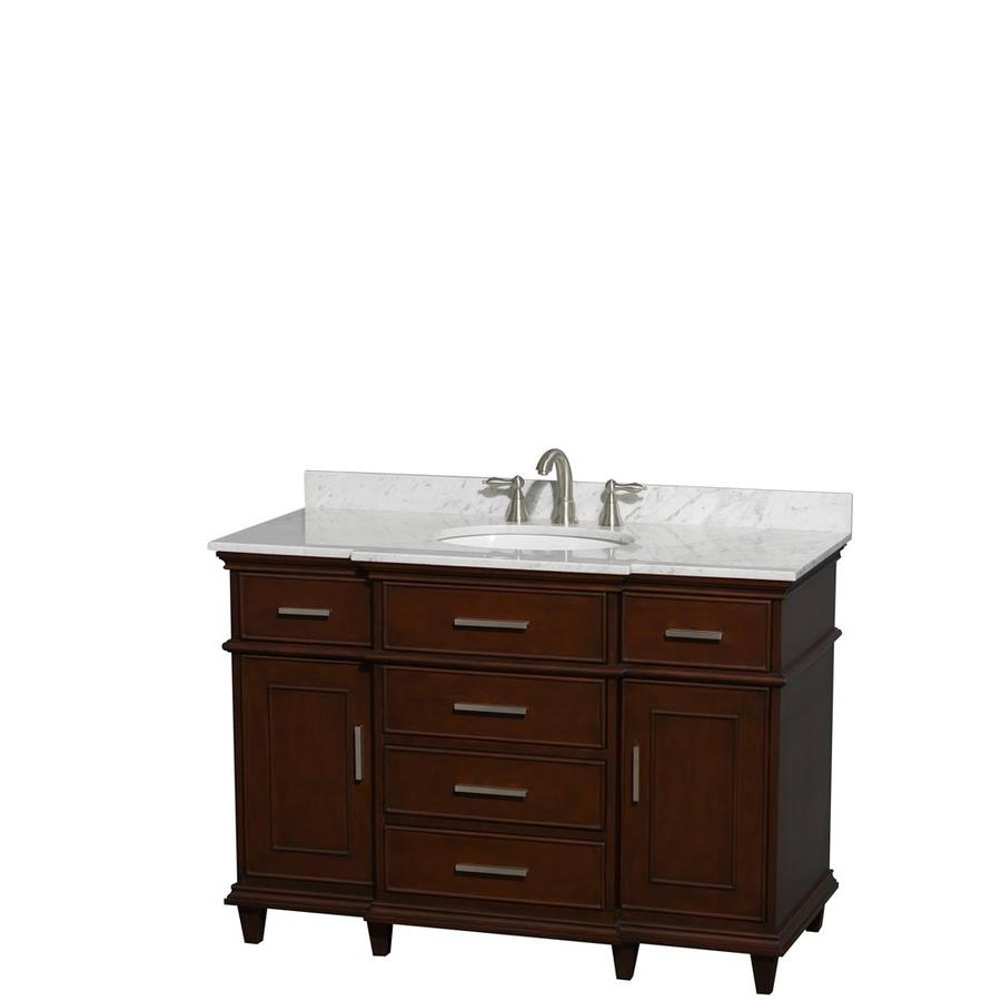 Wyndham Collection Berkeley Dark Chestnut Undermount Single Sink Bathroom Vanity with Natural Marble Top (Common: 48-in x 23-in; Actual: 48-in x 22.5-in)
