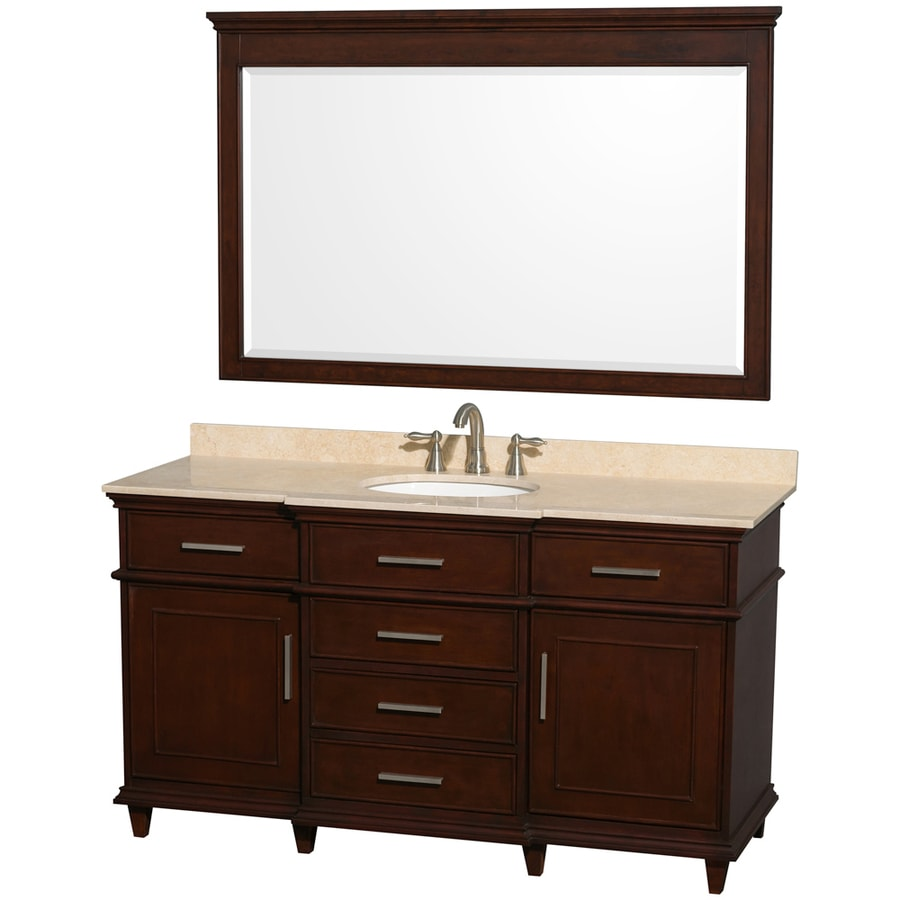 Wyndham Collection Berkeley Dark Chetnut (Common: 60-in x 22.5-in) Undermount Single Sink Birch Bathroom Vanity with Natural Marble Top (Mirror Included) (Actual: 60-in x 22.5-in)