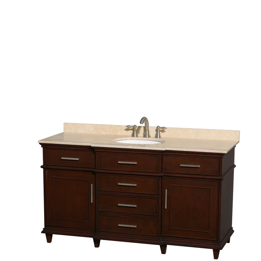 Wyndham Collection Berkeley Dark Chestnut Undermount Single Sink Bathroom Vanity with Natural Marble Top (Common: 60-in x 23-in; Actual: 60-in x 22.5-in)