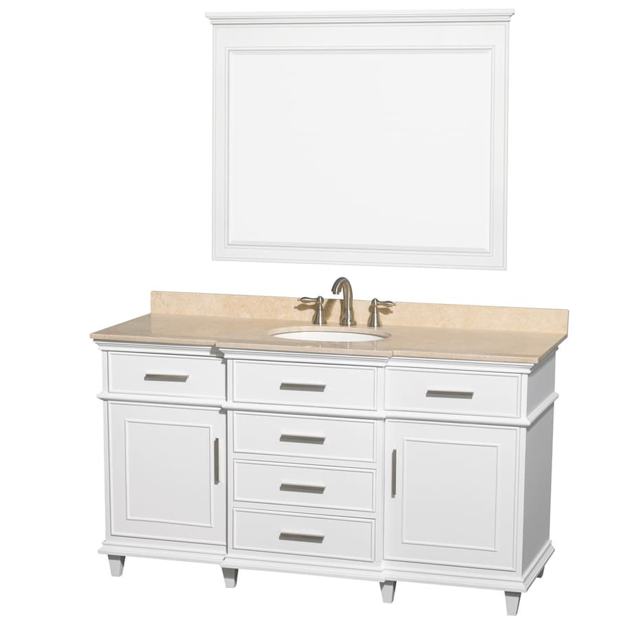 Wyndham Collection Berkeley White Undermount Single Sink Bathroom Vanity with Natural Marble Top (Common: 60-in x 23-in; Actual: 60-in x 22.5-in)