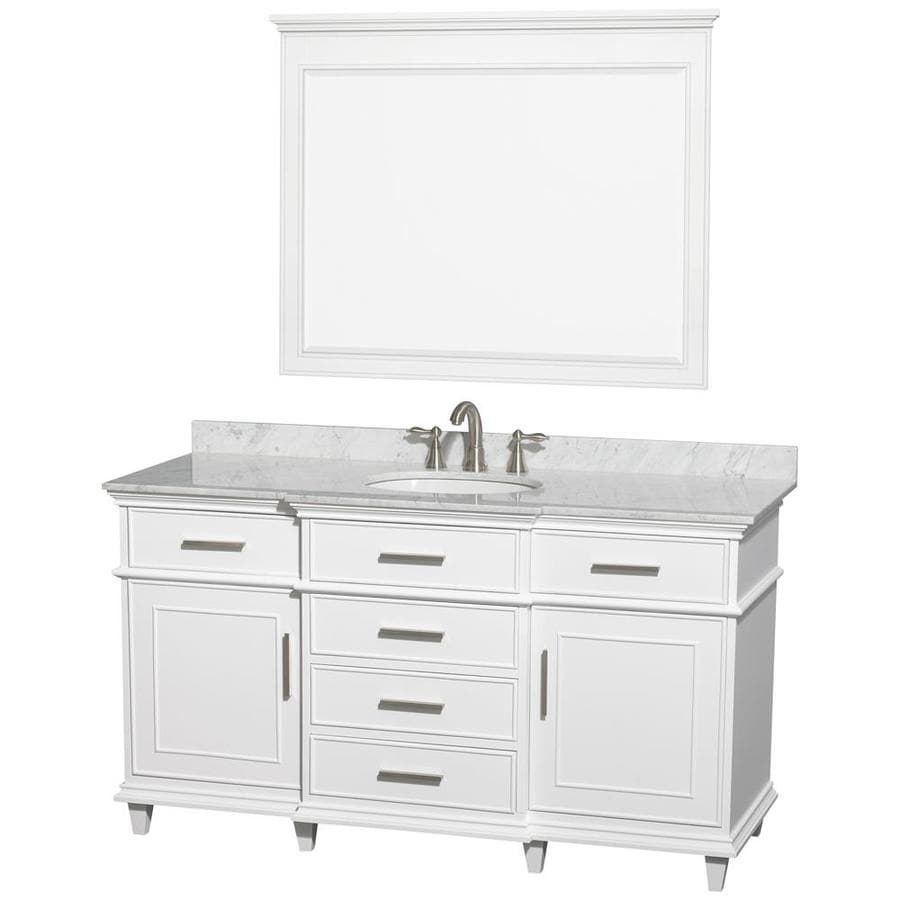 Wyndham Collection Berkeley White 60-in Undermount Single Sink Birch Bathroom Vanity with Natural Marble Top (Mirror Included)