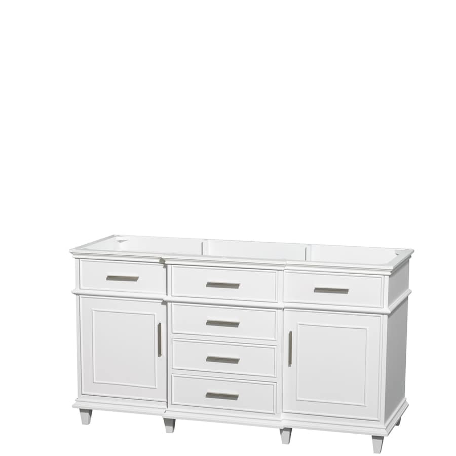Wyndham Collection Berkeley White Bathroom Vanity (Common: 60-in x 22-in; Actual: 59-in x 22-in)