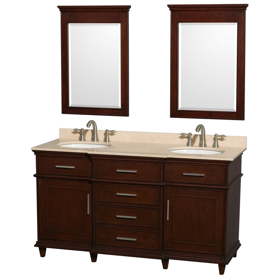 Wyndham Collection Berkeley Dark Chetnut 60-in Undermount Double Sink Birch Bathroom Vanity with Natural Marble Top (Mirror Included)
