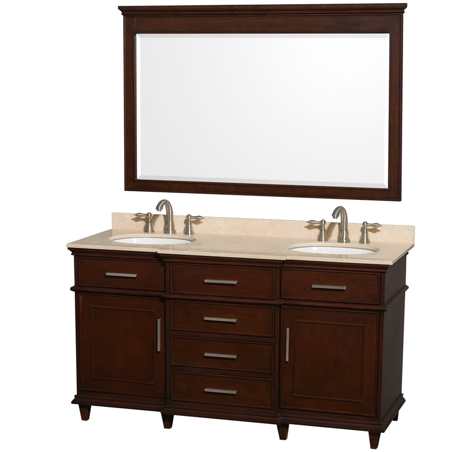 Wyndham Collection Berkeley Dark Chestnut Undermount Double Sink Bathroom Vanity with Natural Marble Top (Common: 60-in x 23-in; Actual: 60-in x 22.5-in)