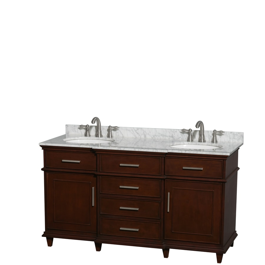 Wyndham Collection Berkeley Dark Chestnut Undermount Double Sink Bathroom Vanity with Natural Marble Top (Common: 60-in x 23-in; Actual: 60-in x 22.5-in)