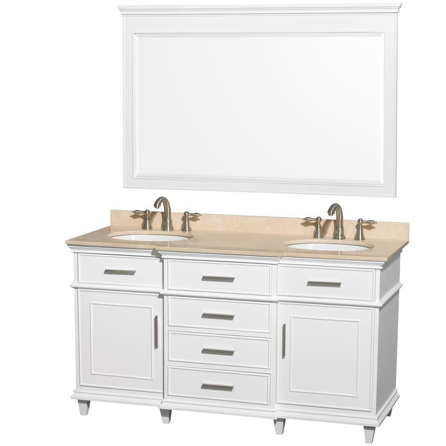 Wyndham Collection Berkeley White Undermount Double Sink Bathroom Vanity with Natural Marble Top (Common: 60-in x 23-in; Actual: 60-in x 22.5-in)