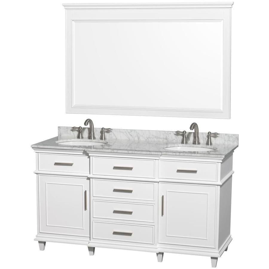 Wyndham Collection Berkeley White 60-in Undermount Double Sink Birch Bathroom Vanity with Natural Marble Top (Mirror Included)