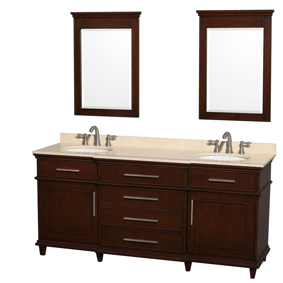 Wyndham Collection Berkeley Dark Chestnut Undermount Double Sink Bathroom Vanity with Natural Marble Top (Common: 72-in x 23-in; Actual: 72-in x 22.5-in)