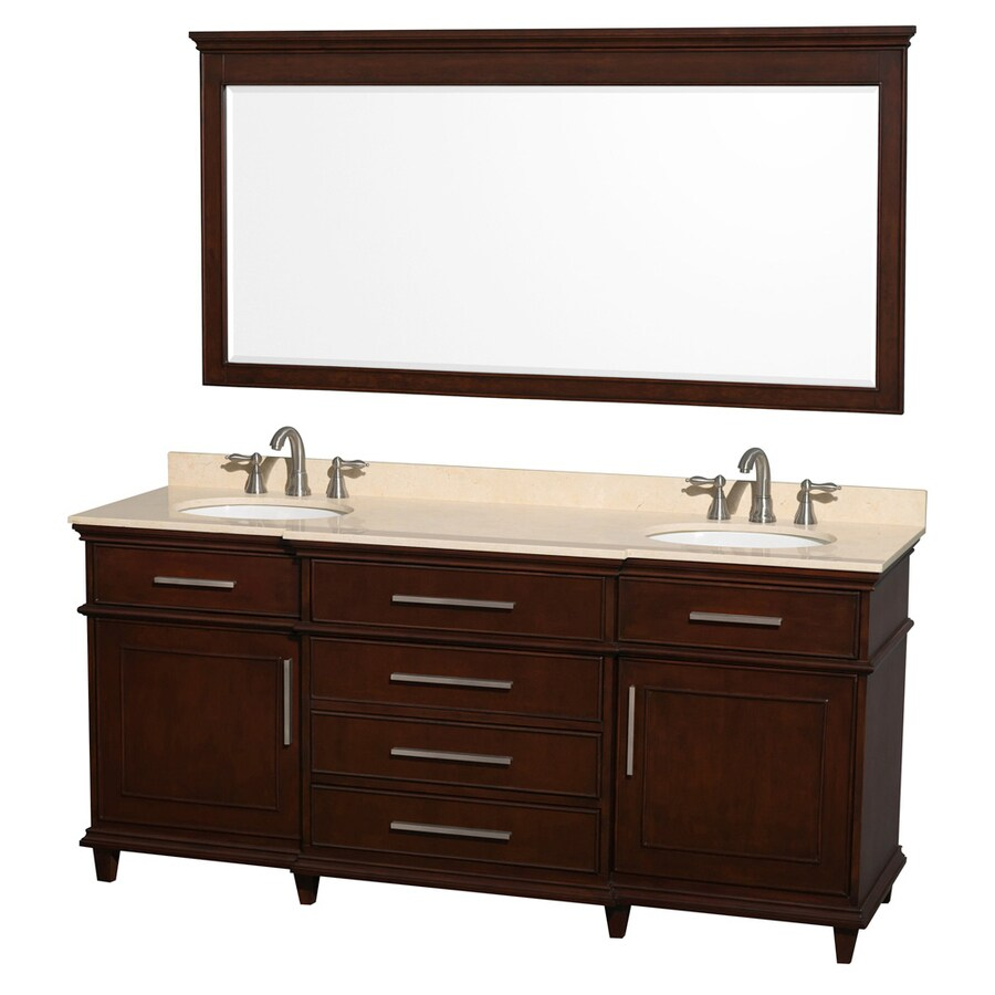 Wyndham Collection Berkeley Dark Chetnut 72-in Undermount Double Sink Birch Bathroom Vanity with Natural Marble Top (Mirror Included)