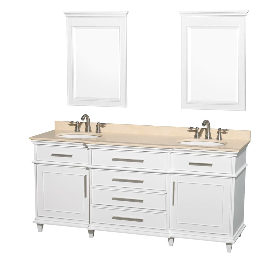 Wyndham Collection Berkeley White Undermount Double Sink Bathroom Vanity with Natural Marble Top (Common: 72-in x 23-in; Actual: 72-in x 22.5-in)
