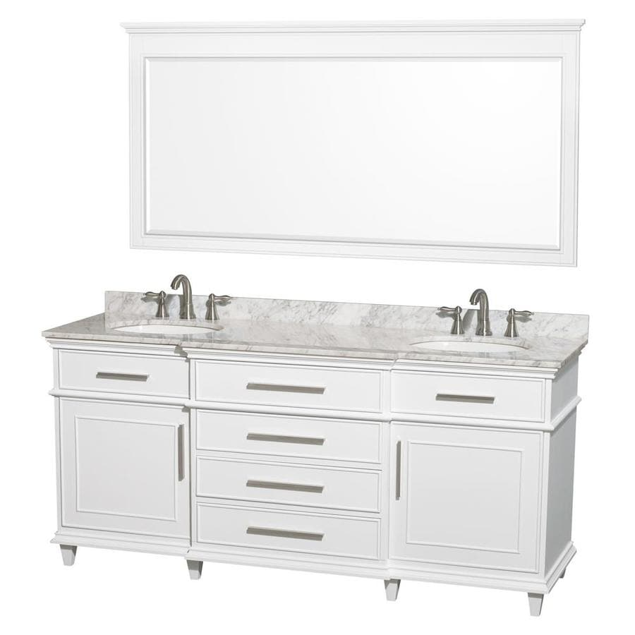 Shop wyndham collection berkeley white undermount double for Bath vanities with tops