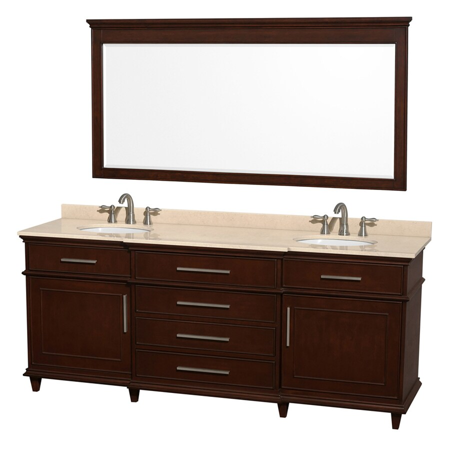 Wyndham Collection Berkeley Dark Chetnut 80-in Undermount Double Sink Birch Bathroom Vanity with Natural Marble Top (Mirror Included)